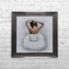 White Ballerina - White Tutu - Back - Sparkle - Metallic Frame - Mounted