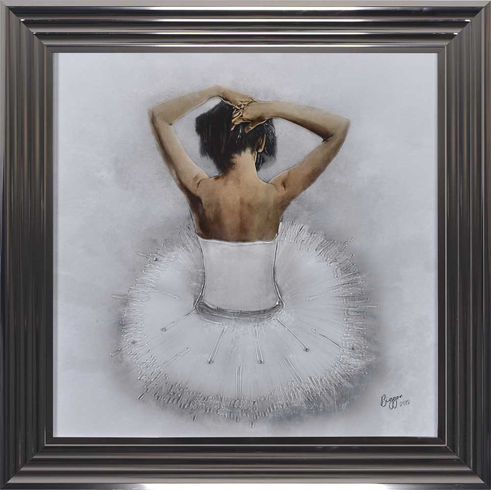 Seated White Ballerina (Metallic 75 Frame)
