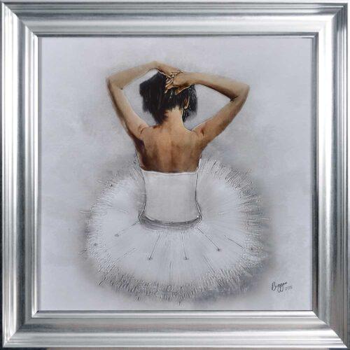 White Ballerina - White Tutu - Back - Sparkle - Silver Vegas Frame