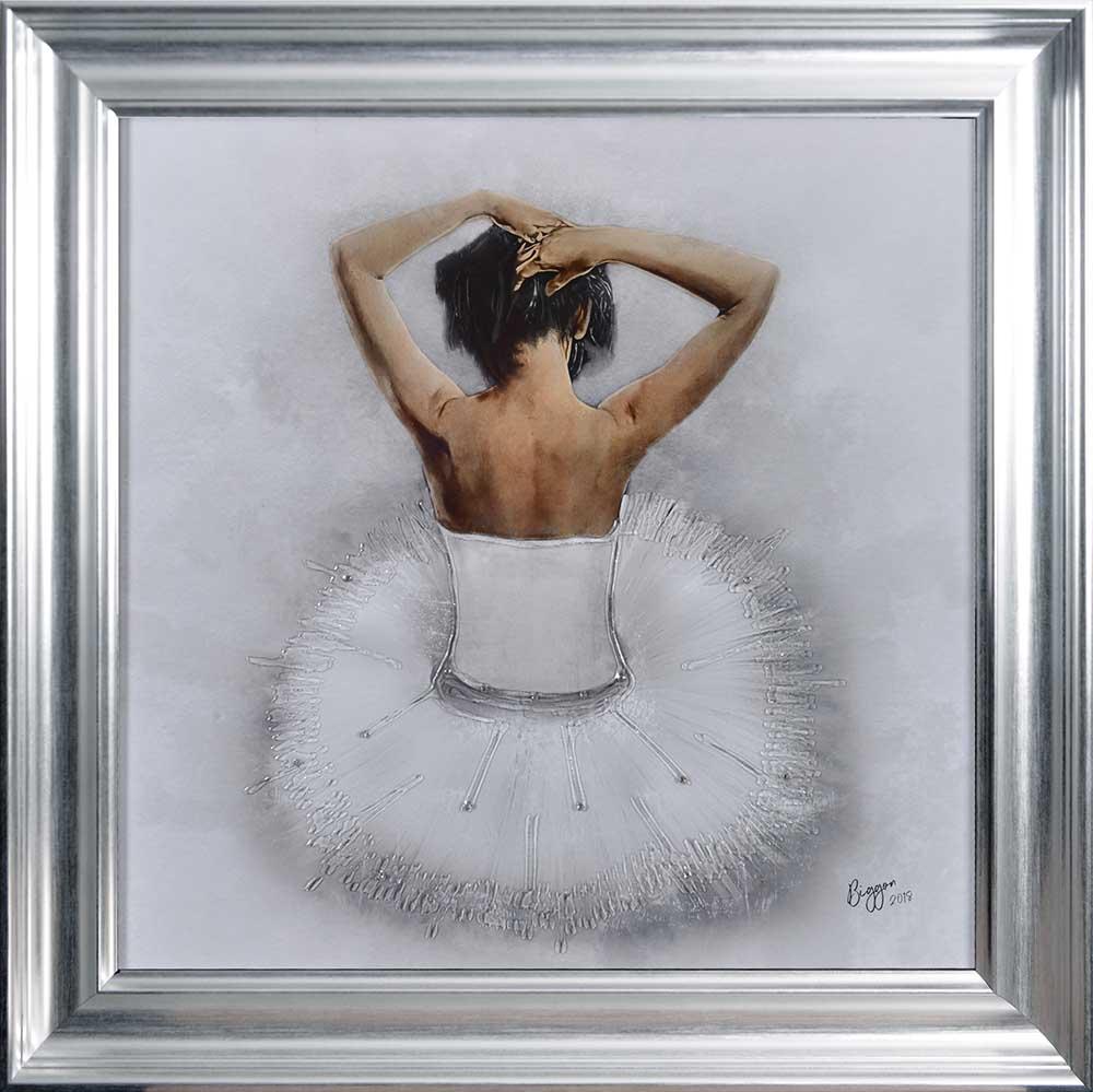 Seated White Ballerina (Silver Vegas 75 Frame)