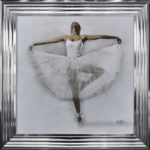 White Ballerina - White Tutu - Performing - Front - Sparkle - Chrome Frame
