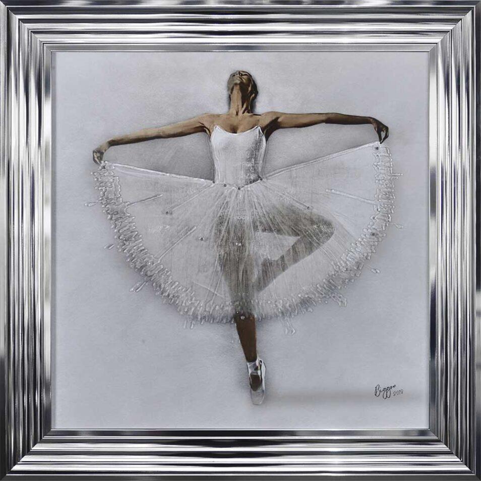 White Ballerina - White Tutu - Performing - Front - Sparkle - Chrome Frame