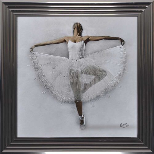 White Ballerina - White Tutu - Performing - Front - Sparkle - Metallic Frame
