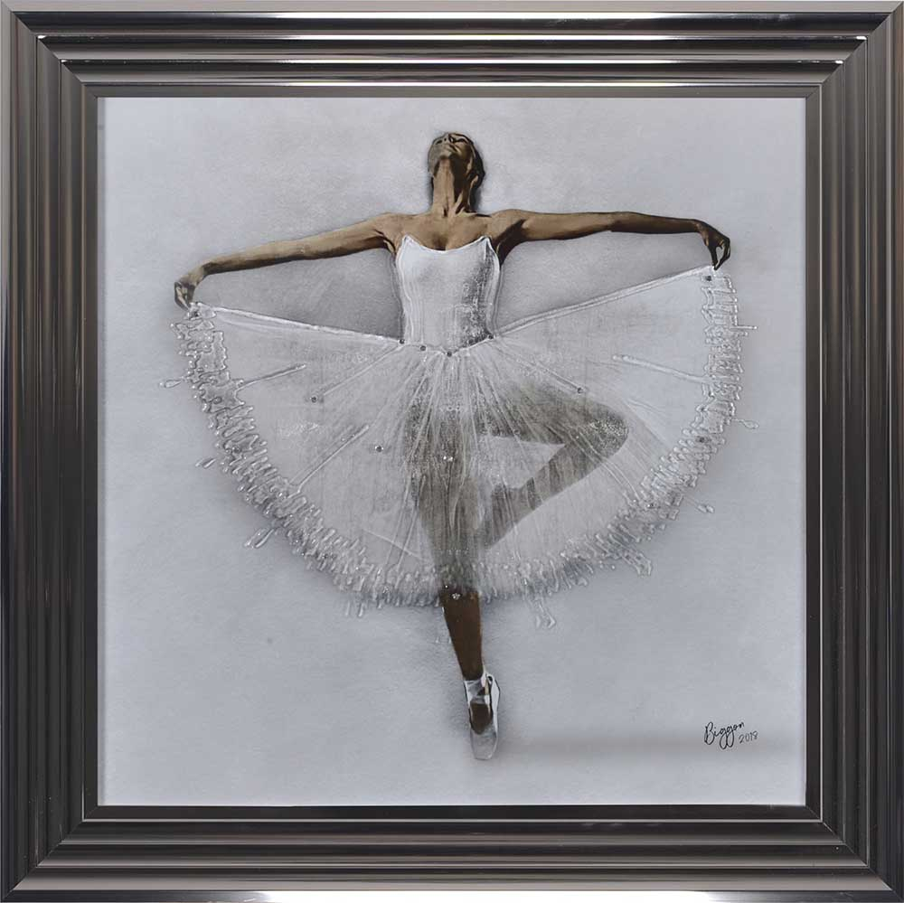 Performing White Ballerina (Metallic 75 Frame)