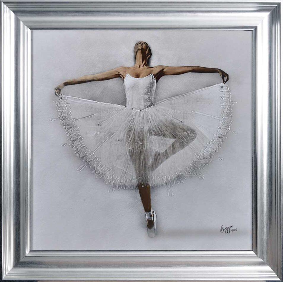 White Ballerina - White Tutu - Performing - Front - Sparkle - Silver Vegas Frame
