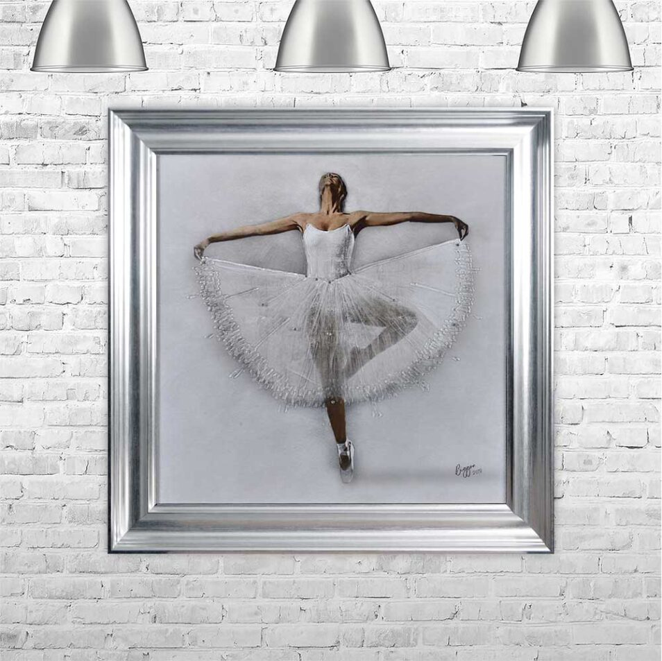 White Ballerina - White Tutu - Performing - Front - Sparkle - Silver Vegas Frame - Mounted