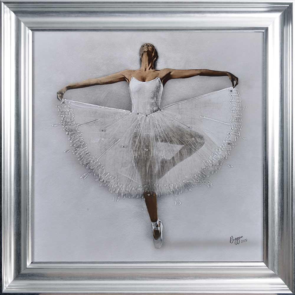 Performing White Ballerina (Silver Vegas 75 Frame)