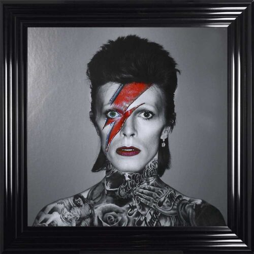 David Bowie - Colour Lightning - Tattoos - Black Frame