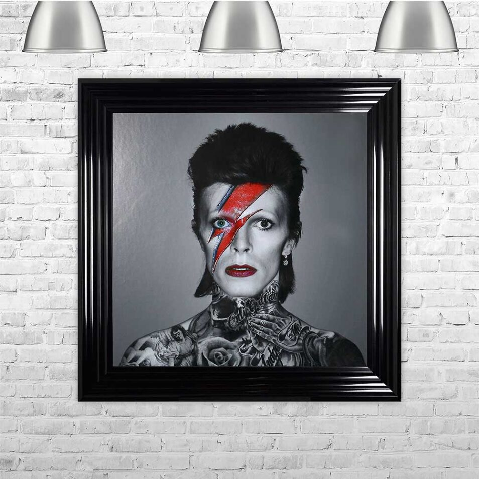 David Bowie - Colour Lightning - Tattoos - Black Frame - Mounted