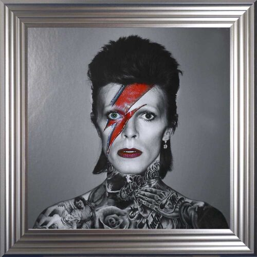 David Bowie - Colour Lightning - Tattoos - Silver Frame