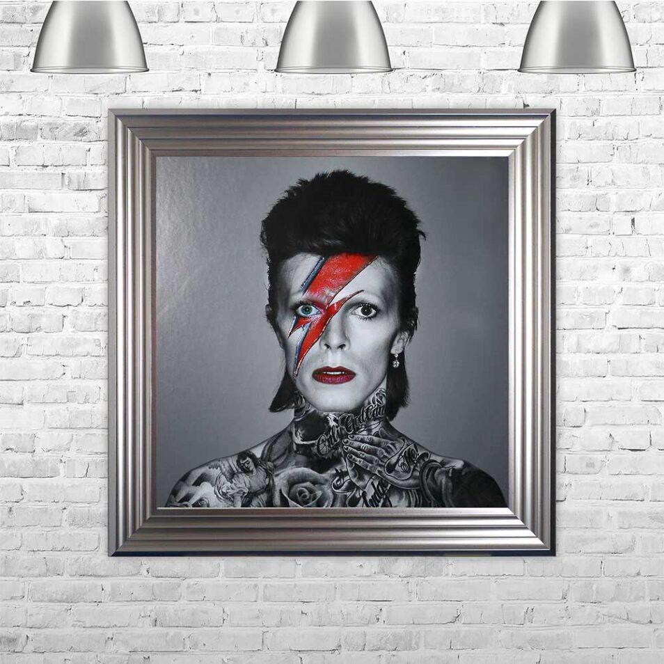 David Bowie - Colour Lightning - Tattoos - Silver Frame - Mounted
