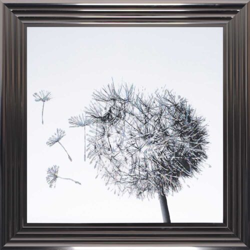Dandelions - Blowing Left - Metallic Frame