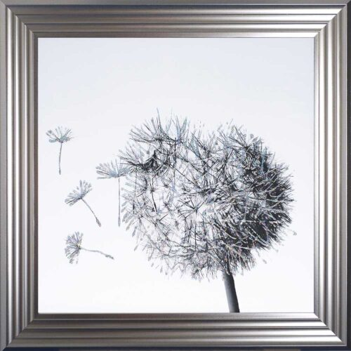 Dandelions - Blowing Left - Silver Frame