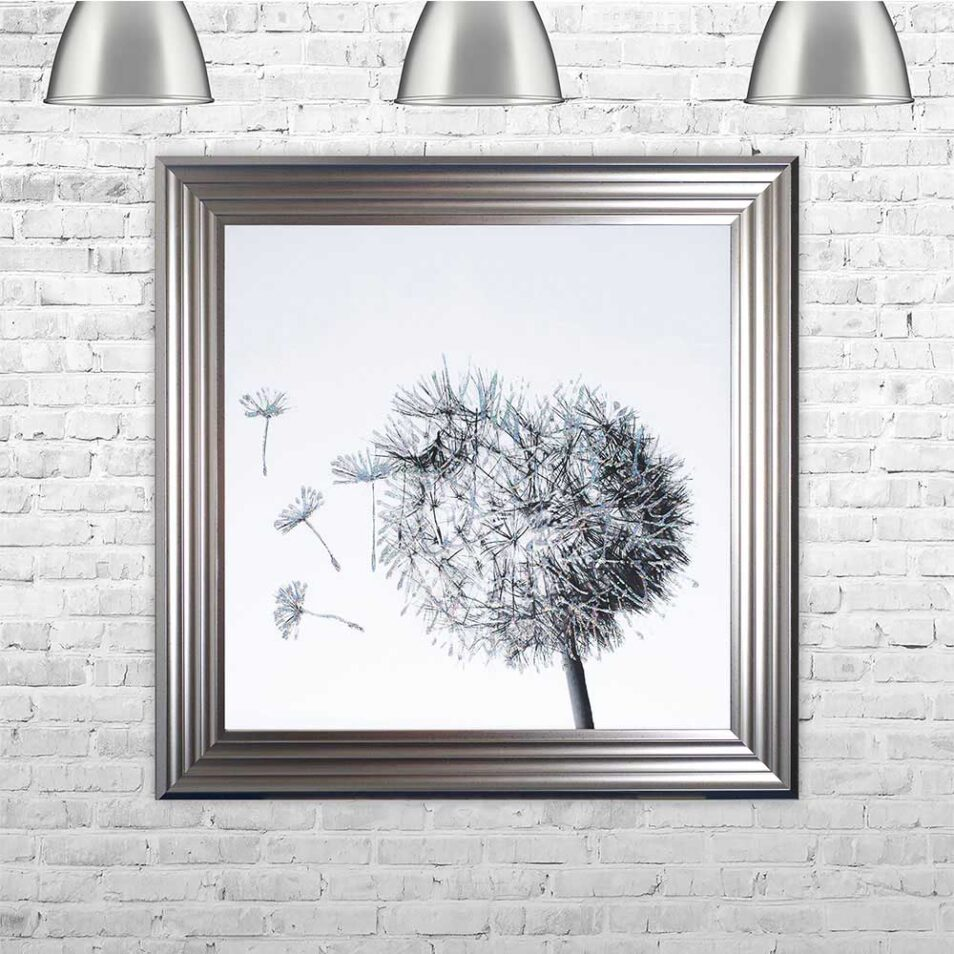 Dandelions - Blowing Left - Silver Frame - Mounted