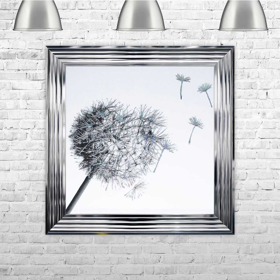 Dandelions - Blowing Right - Chrome Frame - Mounted
