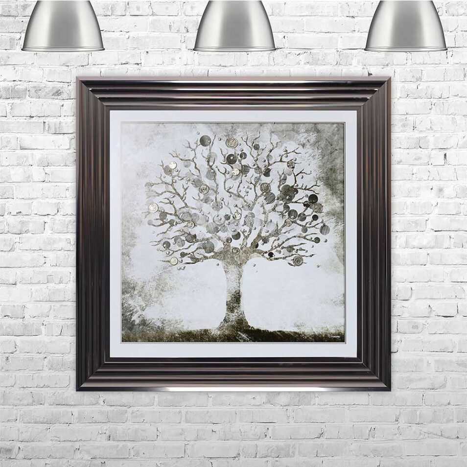 Silver Money Tree - Money Tree - Metallic Frame - Mounted