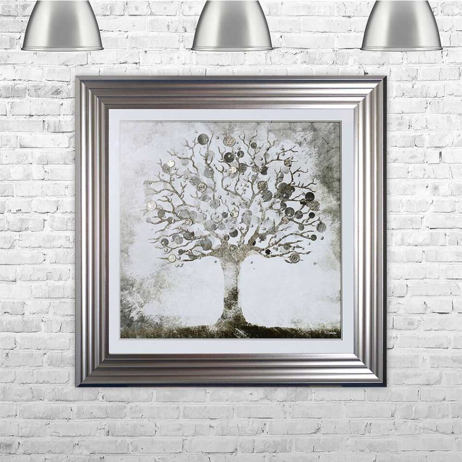 Silver Money Tree - Money Tree - Silver Frame - Mounted