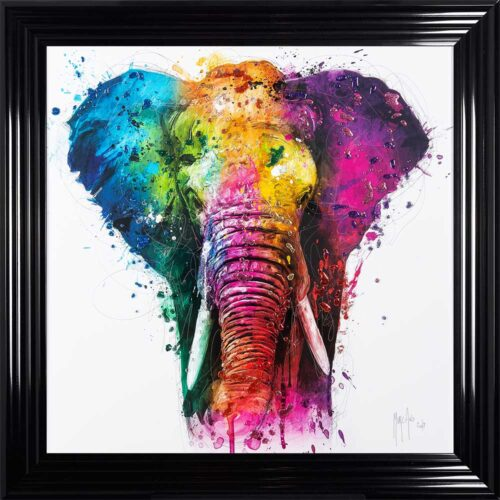 Africa - Elephant - Colourful - Patrice Murciano - Black Frame