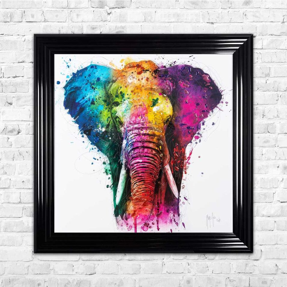 Africa - Elephant - Colourful - Patrice Murciano - Black Frame - Mounted