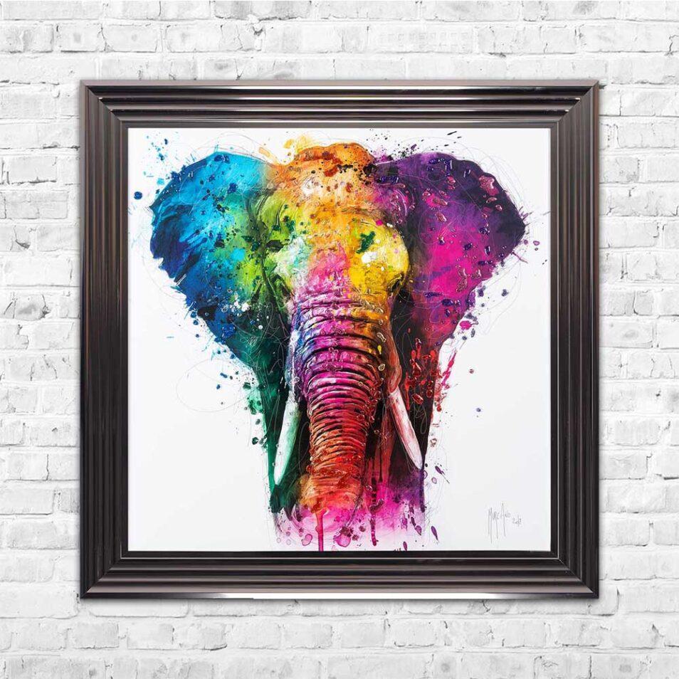 Africa - Elephant - Colourful - Patrice Murciano - Metallic Frame - Mounted
