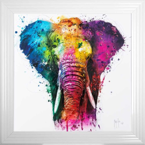 Africa - Elephant - Colourful - Patrice Murciano - White Frame