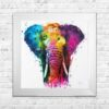 Africa - Elephant - Colourful - Patrice Murciano - White Frame - Mounted