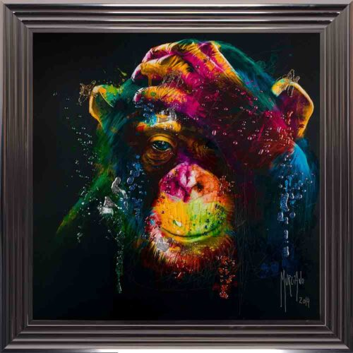 Darwin - Chimp - Chimpanzee - Black Background - Metallic Frame