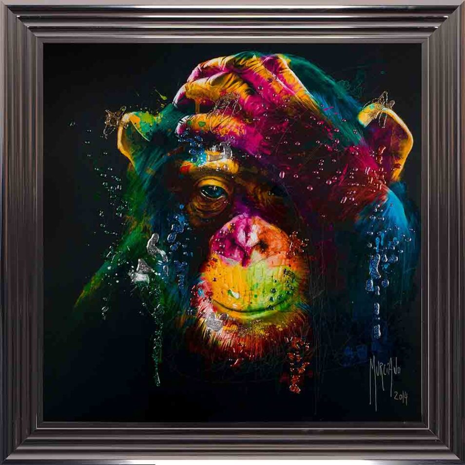 Darwin - Chimp - Chimpanzee - Black Background - Metallic Frame