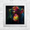 Darwin - Chimp - Chimpanzee - Black Background - White Frame - Mounted