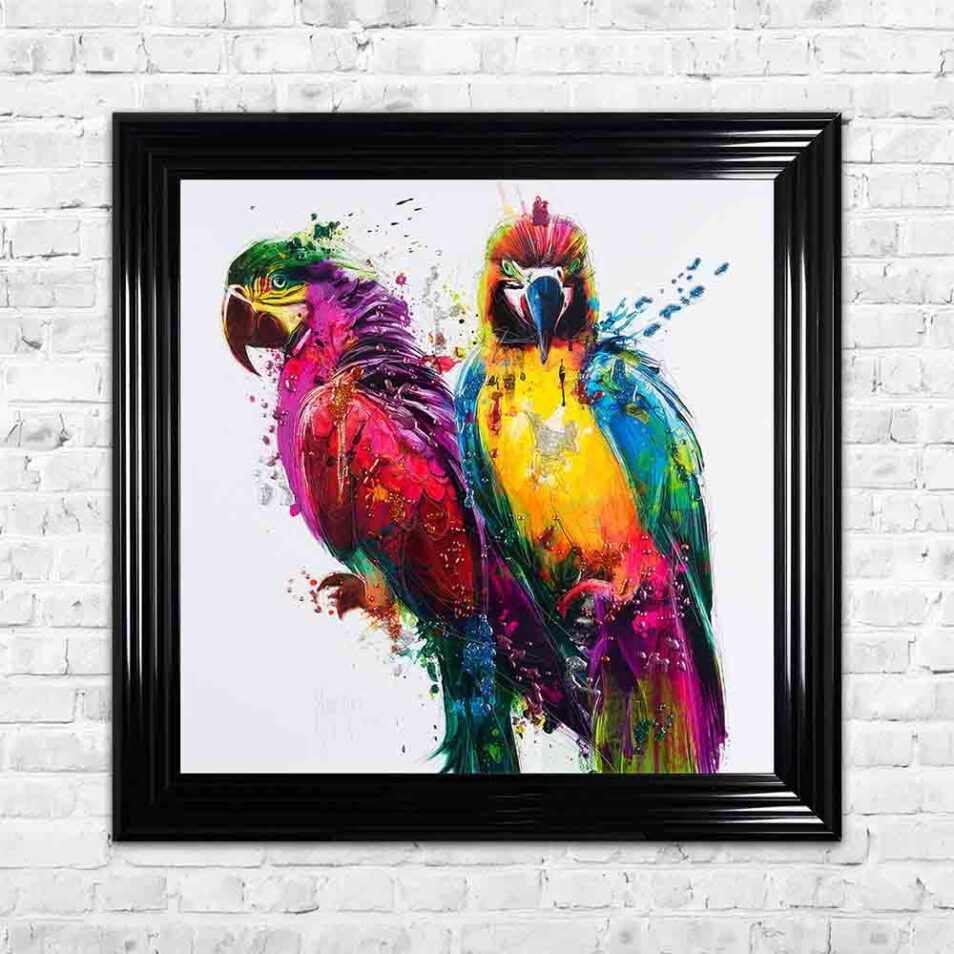 Parrots - Colourful Birds - Patrice Murciano - Black Frame - Mounted