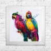 Parrots - Colourful Birds - Patrice Murciano - White Frame - Mounted